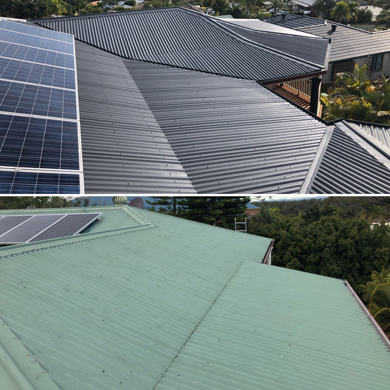 Roof Restorations Before & After Colorbond Roof
