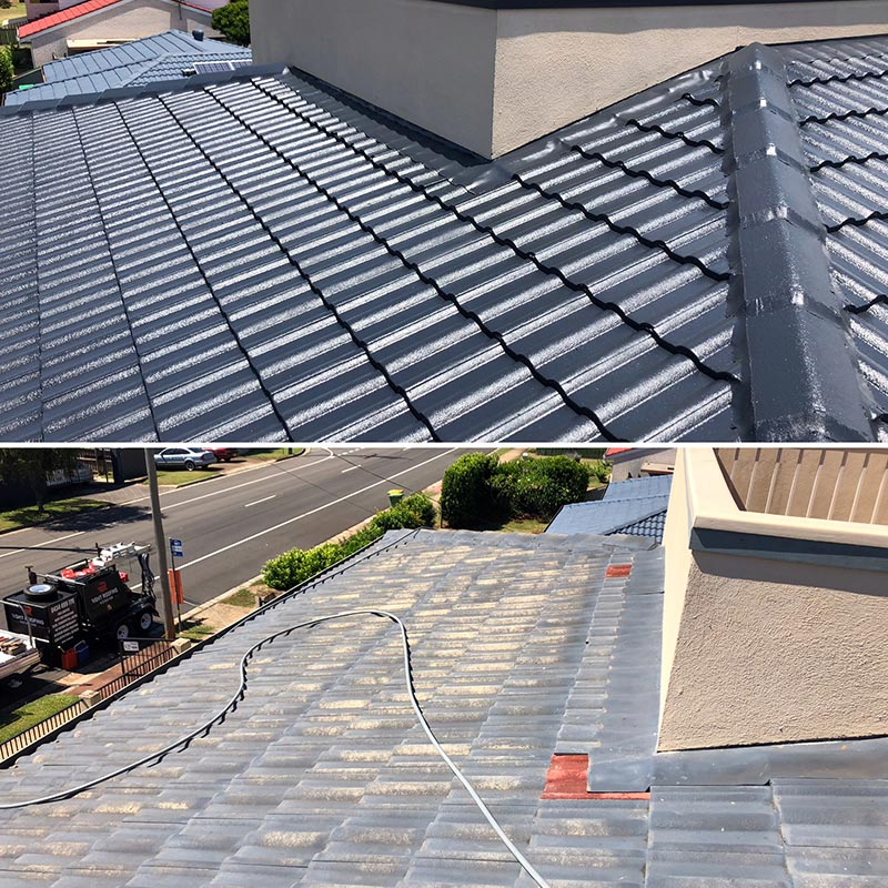 Roof Restorations Before & After Tile Roof