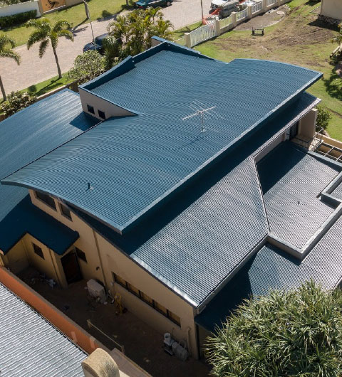 Right Roofing Restorations Blue Roof Top View