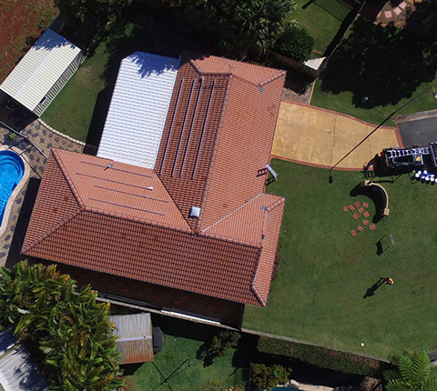 Right Roofing Tile Roof Top View